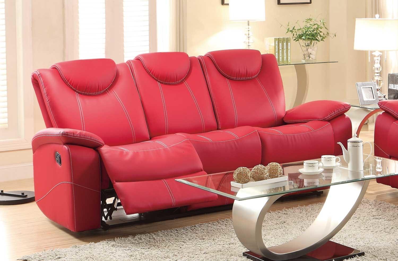 Glider Recliner Sofa With Adjustable Headrest, Red - Walmart.com