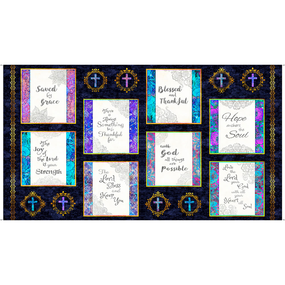 Quilting Treasures Faith by Dan Morris Religious Picture 24 inch Panel Navy
