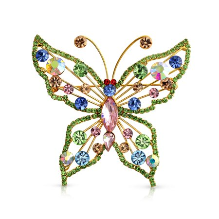 Large Fashion Crystal Multicolor Rainbow Garden Statement Butterfly Brooch Pin For Women For Mother 14K Gold Plate Brass ()