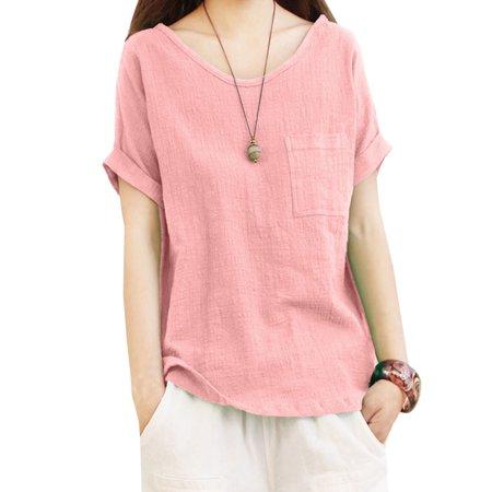Women's Plus Size Linen Loose Baggy Short Sleeve Shirts Plus Size Linen Blend Shirt