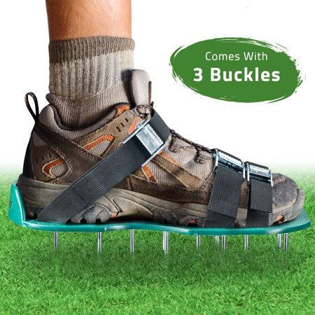 Lawn Aerator Spike Shoes - For Effectively Aerating Lawn Soil - Comes with 3 Adjustable Straps with Metallic Buckles - Universal Size that Fits