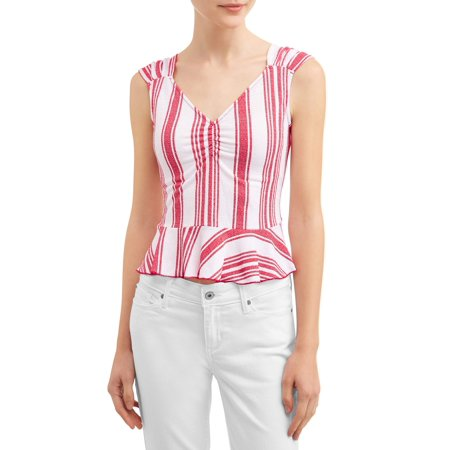 Juniors' Striped Cinched Front Cap Sleeve Peplum Blouse (Flying Tomato Blouse)
