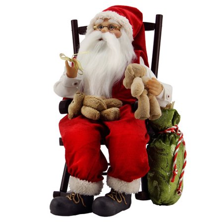 Northlight Seasonal Animated Santa Claus in a Rocking Chair with Bears and Gift Bag