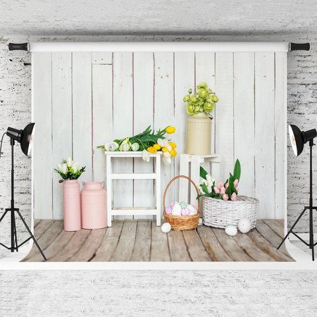 GreenDecor Polyster 7x5ft Wood Backdrops for Easter Photography Background Eggs Backdrops for Photo - Easter Photography Backdrops