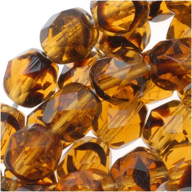 Czech Fire Polished Glass Beads 6mm Round 'Tawny Brown' (25)