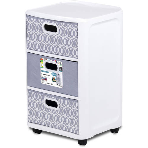 Home Logic 3 Fabric Drawer Storage Cart in White with Reversible Drawers, Multiple Colors