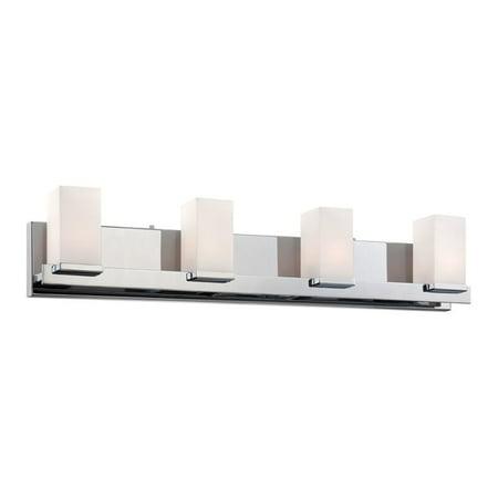 Alico Sleek 4 Light Vanity Light in Chrome and White Opal Glass