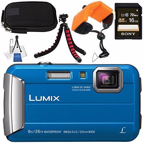 Panasonic Lumix DMC-TS30 Digital Camera (Blue) DMC-TS30/BL + Sony 16GB SDHC Card + Small Carrying Case + Waterproof Floating Strap + Flexible Tripod + Deluxe Cleaning Kit Bundle