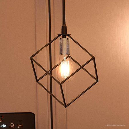 """Urban Ambiance Luxury Modern Pendant, Small Size: 9.75""""H x 7.75""""W, with Cube Style Elements, Natural Black Finish, UQL2911 from the Padova Collection"""