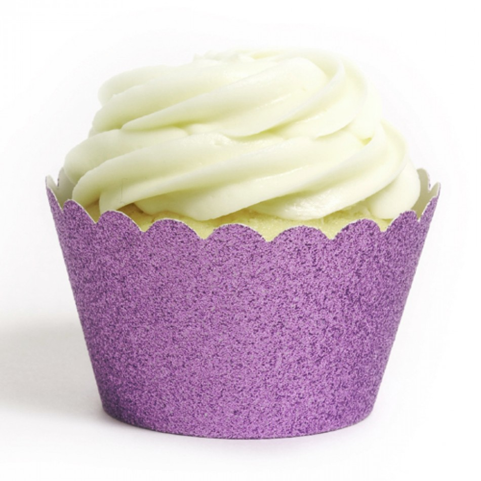Dress My Cupcake Standard Lavender Reusable Glitter Cupcake Wrappers, Set of 12
