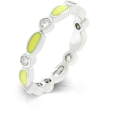 R07881R-V61-05 Genuine Rhodium Plated Link Style Stacker Ring with Yellow Enamel Finish and Bezel Set Round Clear CZ in Silvertone - Size 5