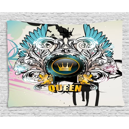 - Queen Tapestry, Artistic Design Arms Shield with Crown Wings and Victorian Floral Elements Imperial, Wall Hanging for Bedroom Living Room Dorm Decor, 60W X 40L Inches, Multicolor, by Ambesonne