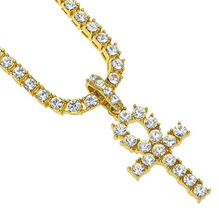 - ICED Out ANKH Cross Pendant Tennis Chain White Gold Silver Hip Hop Necklace (Gold)