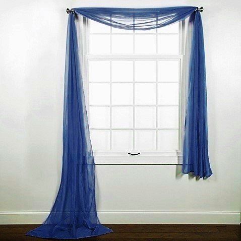 """1 PC SOLID NAVY BLUE SCARF VALANCE SOFT SHEER VOILE WINDOW PANEL CURTAIN 216"""" LONG TOPPER SWAG"""