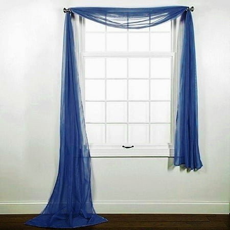 1 PC SOLID NAVY BLUE SCARF VALANCE SOFT SHEER VOILE WINDOW PANEL CURTAIN 216
