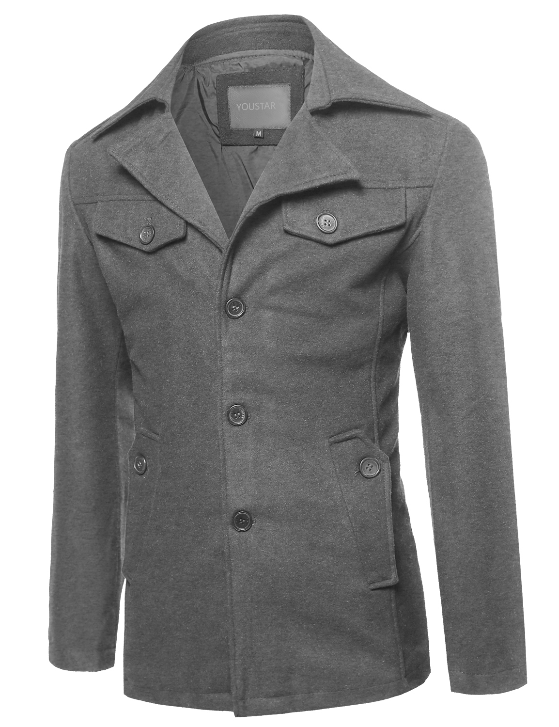FashionOutfit Men's Classic Wool Blend Coat by Mens Wool Coats