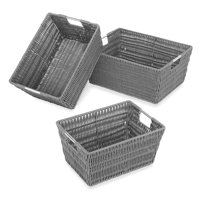 Whitmor Rattique Storage Baskets - Set of 3 - Grey