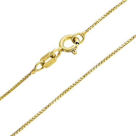Simple 1MM Thin 10 Gauge Box Chain Link Necklace For Women For Teen 14K Gold Plated 925 Sterling Silver Made In Italy