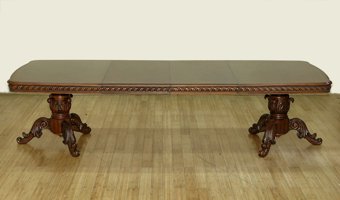 10Ft Mahogany French Louis Double Pedestal Dining Table w  2 Leaves by MBW Furniture