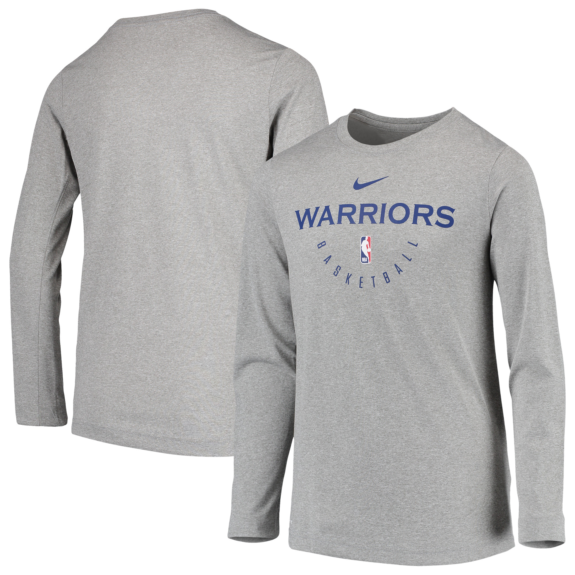 Golden State Warriors Nike Youth Practice Logo Legend Long Sleeve Performance T-Shirt - Heathered Gray
