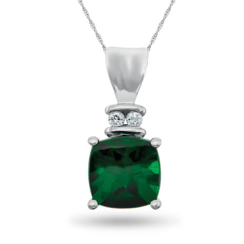 Sterling Silver, Lab-Created Emerald and Diamond Pendant