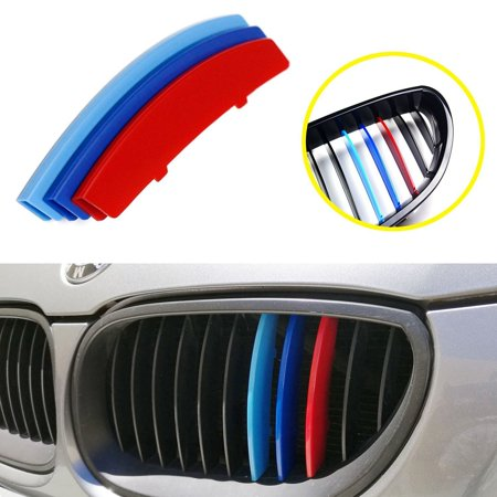 iJDMTOY Exact Fit ///M-Colored Grille Insert Trims For 2004-2010 BMW E60 5 Series 525i 528i 530i 535i 540i 545i 550i M5 Front Center Kidney Grilles (11 (Bmw 525i Grille Replacement)