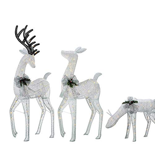 3pc Lighted White Deer Set Display Outdoor Christmas Decoration Yard Decor