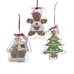 1 set 3 assorted clay dough gingerbread man tree and house christmas ornaments