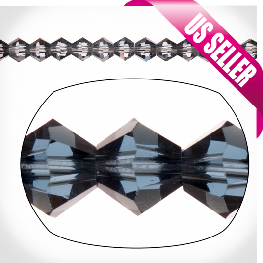 Night Blue Bicone Crystal Beads 4mm, 16-Facet Surface Cutted Crystals, 100cnt per string of 16 inchs