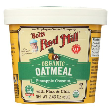 Gluten Free Grains (Bob's Red Mill Oatmeal Cup - Organic Pineapple Coconut - Gluten Free - Pack of 12 - 2.43 Oz )