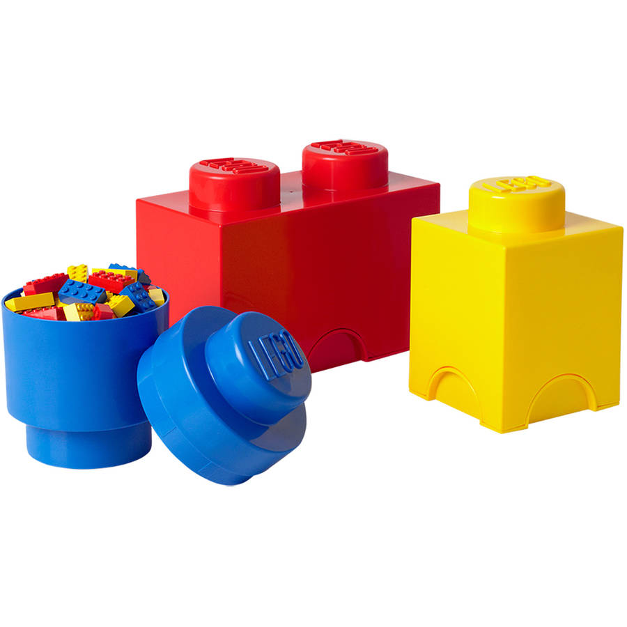 Delicieux LEGO Storage Brick Multi Pack 3 Piece, Bright Red, Bright Blue, And