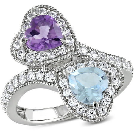 Citrine Amethyst Diamond Heart - 2-1/2 Carat T.G.W. Amethyst and Sky Blue Topaz with Created White Sapphire Sterling Silver Double Heart Bypass Ring