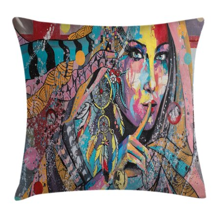 Modern Art Home Decor Throw Pillow Cushion Cover  Sexy Talisman Girl With Indian Dreamcatcher And Tribal Murky Boho Paint  Decorative Square Accent Pillow Case  24 X 24 Inches  Multi  By Ambesonne