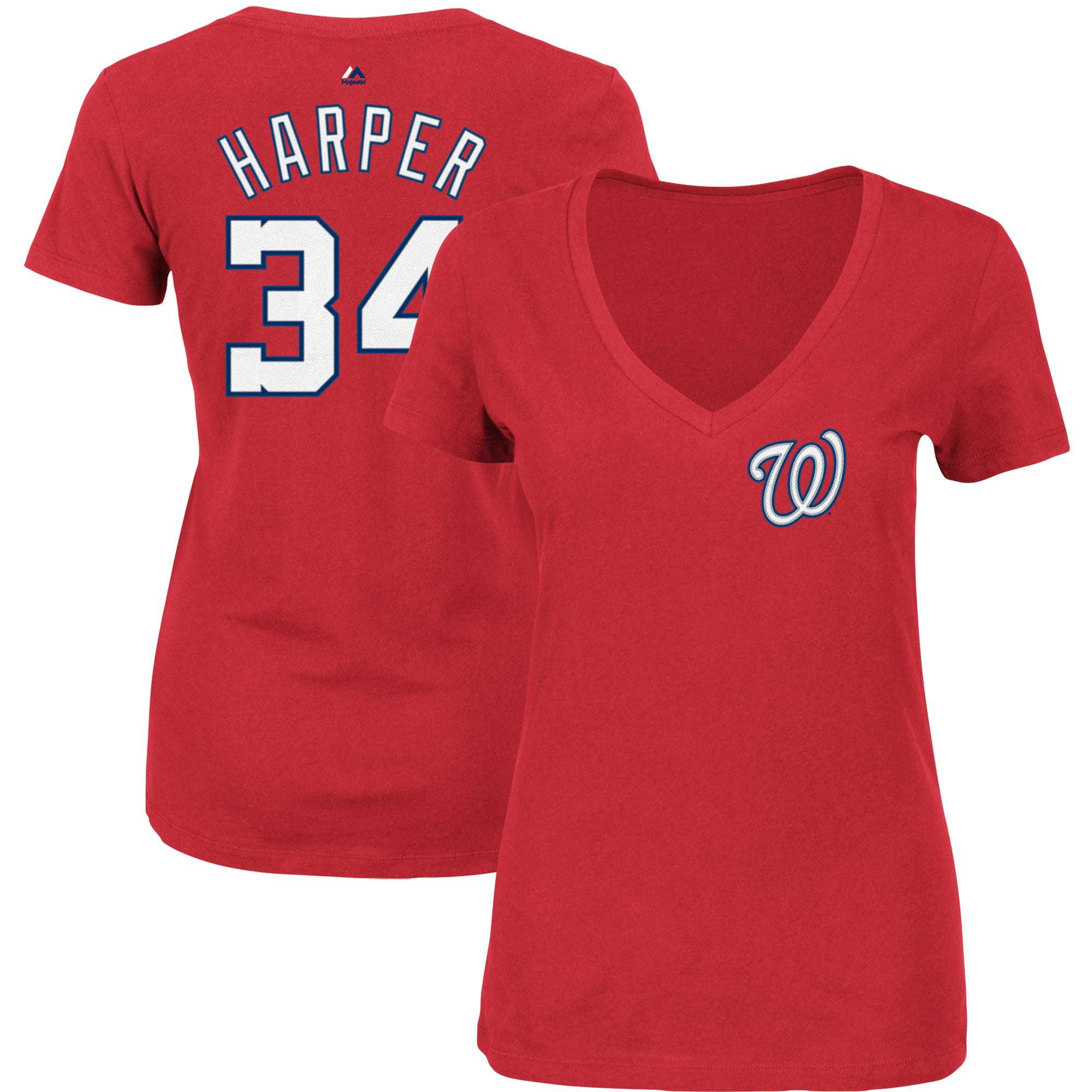 Bryce Harper Washington Nationals Majestic Women's Name & Number V-Neck T-Shirt - Red