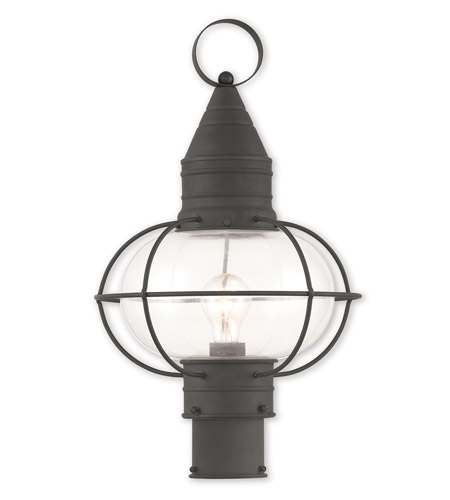 Outdoor Post 1 Light With Hand Crafted Solid Brass Hand Blown Clear Black size 20 in 100 Watts - World of Crystal