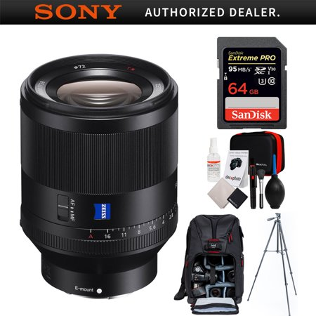 Sony Zeiss Prime Full-Frame Planar T* FE 50mm F1.4 ZA E-Mount Lens (SEL50F14Z) with 64GB Memory Card, Photo Camera Sling Backpack, All-in-One Cleaning Kit DSLR Cameras & 60