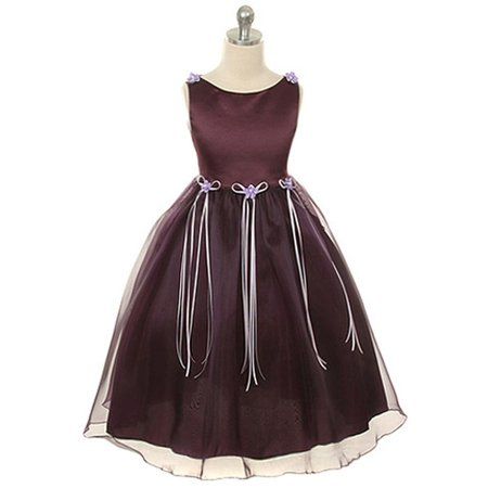 Kids Dream Little Girls Eggplant Rosebud Organza Flower Girl Dress 2 - Flower Girl Dresses Organza