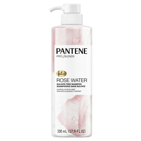 Pantene Pro-V Blends Rose Water Sulfate-Free Soothing Moisture Wash Shampoo, 17.9 fl oz - Dye-Free and Paraben-Free