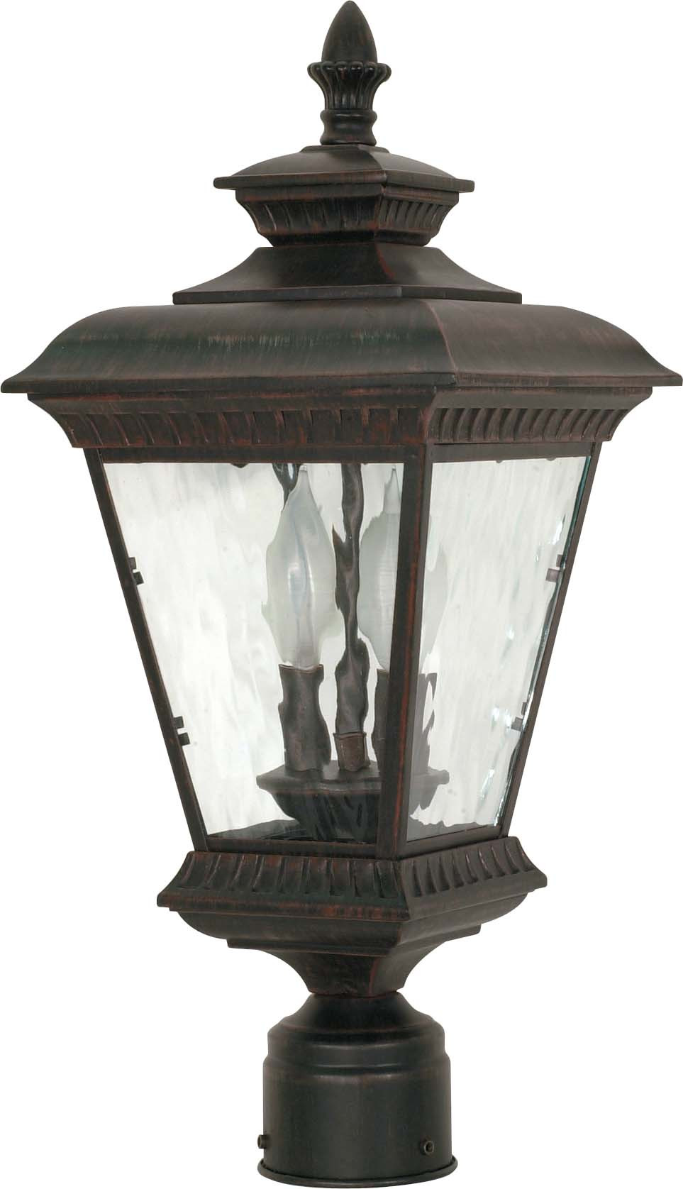 Nuvo Charter 2 Light 20 inch Post Lantern w  Clear Water Glass by
