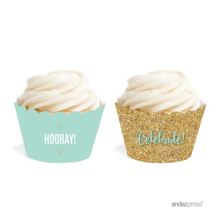 Signature Light Aqua, White, Gold Glittering Baby Shower Birthday Wedding Party, Cupcake Wrappers, 20-Pack