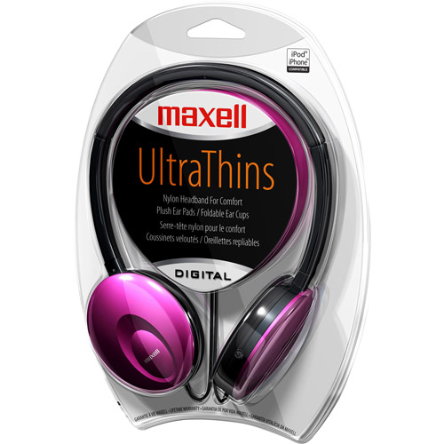 Maxell Ultra Thin Headphones, Red