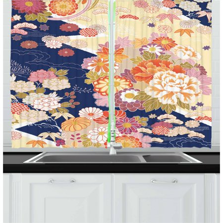 Artworks Home Pattern - Japanese Curtains 2 Panels Set, Traditional Kimono Motifs Composition Asian Ethnic Floral Patterns Vintage Artwork, Window Drapes for Living Room Bedroom, 55W X 39L Inches, Multicolor, by Ambesonne