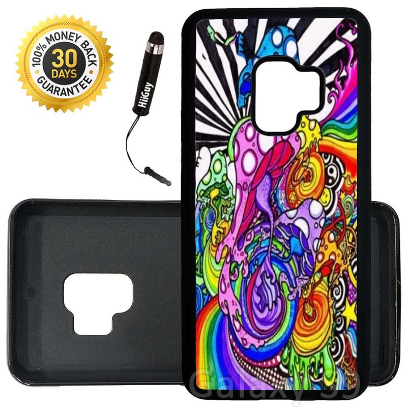 Custom Galaxy S9 Case (Trippy Colorful Mushroom) Edge-to-Edge Rubber Black Cover Ultra Slim | Lightweight | Includes Stylus Pen by Innosub