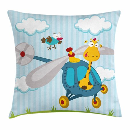 Nursery Throw Pillow Cushion Cover, Funny Giraffe and Bird on Helicopter Fluffy Clouds Grass Adventure Journey, Decorative Square Accent Pillow Case, 18 X 18 Inches, Blue Yellow Green, by - Decorative Grass