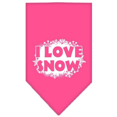 I Love Snow Screen Print Bandana Bright Pink Small