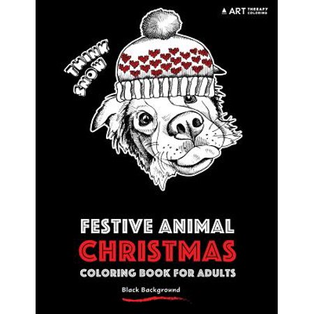 Festive Animal Christmas Coloring Book for Adults : Black Background - Brick Background