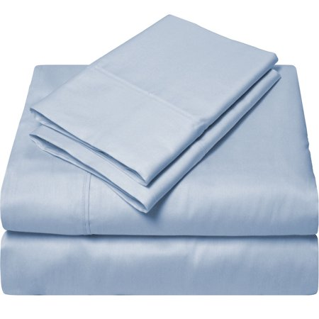 Egyptian Cotton 300 Thread Count Sateen Twin Sheet Set (Twin, Light Blue)