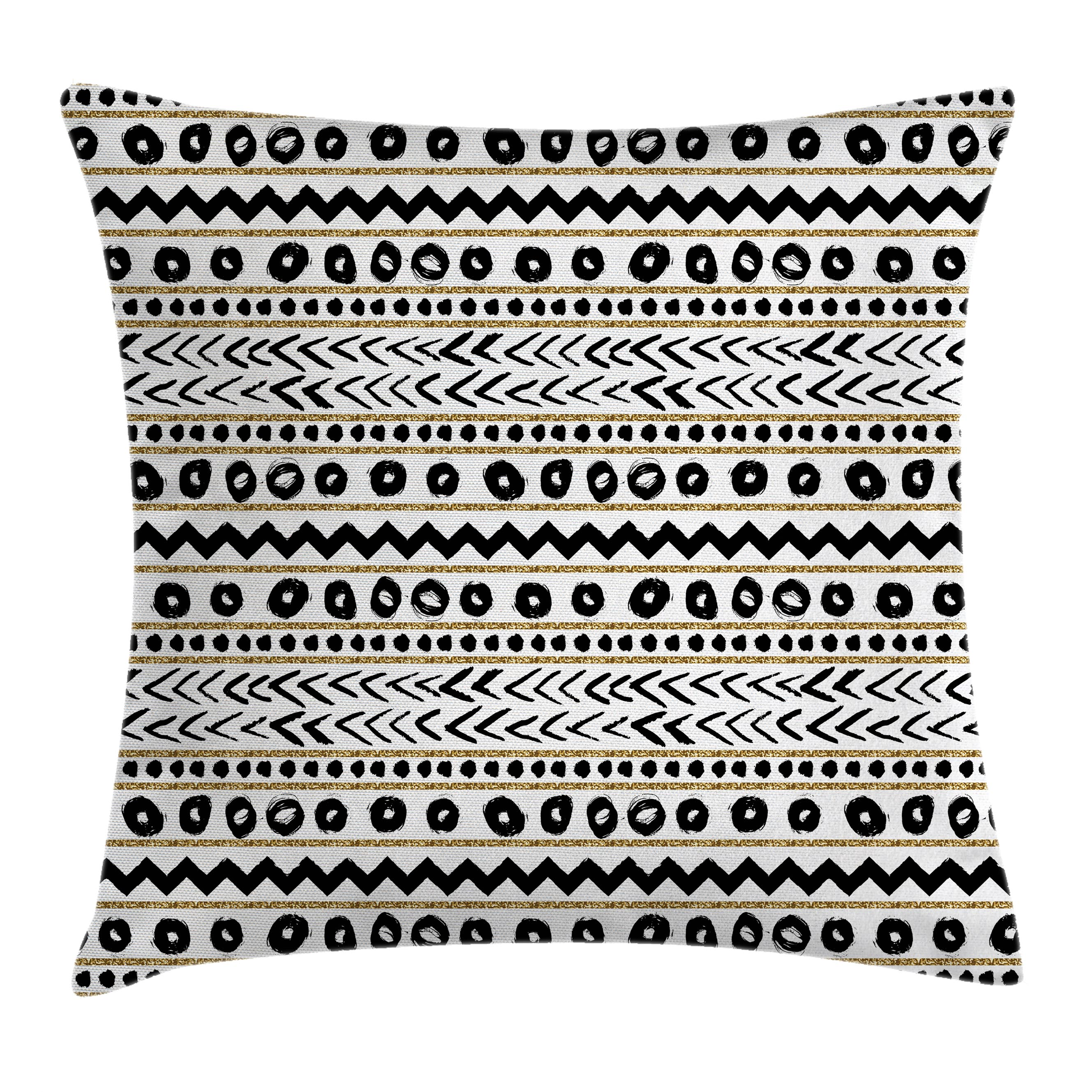 Striped Throw Pillow Cushion Cover, Abstract Primitive Figures with Cave Rocks Nature Inspired Unusual Boho Artprint, Decorative Square Accent Pillow Case, 18 X 18 Inches, Black Golden, by Ambesonne