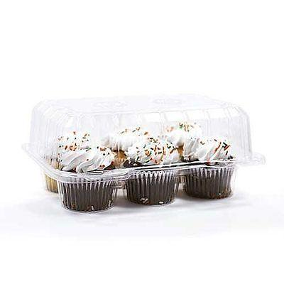 Clear Plastic Box Packaging - 50 pcs 6 Cupcake High Dome Hinged 4
