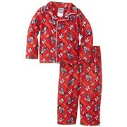Mickey Mouse Boys' Pajama Sport Long Sleeve Coat and Lounge Pants Sleepwear Set, Red, Size: 2T